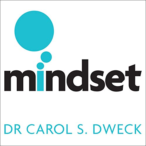 the image shows the words Mindset Dr Carol S Dweck, in black and turquoise on white background