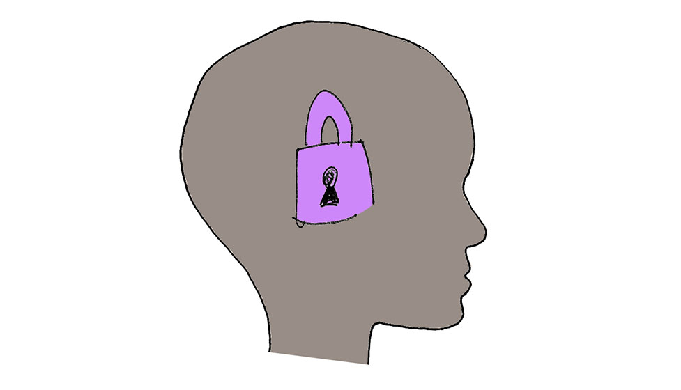 the image shows a drawn head silhouette, from profile, in gray, with a purple padlock in the centre