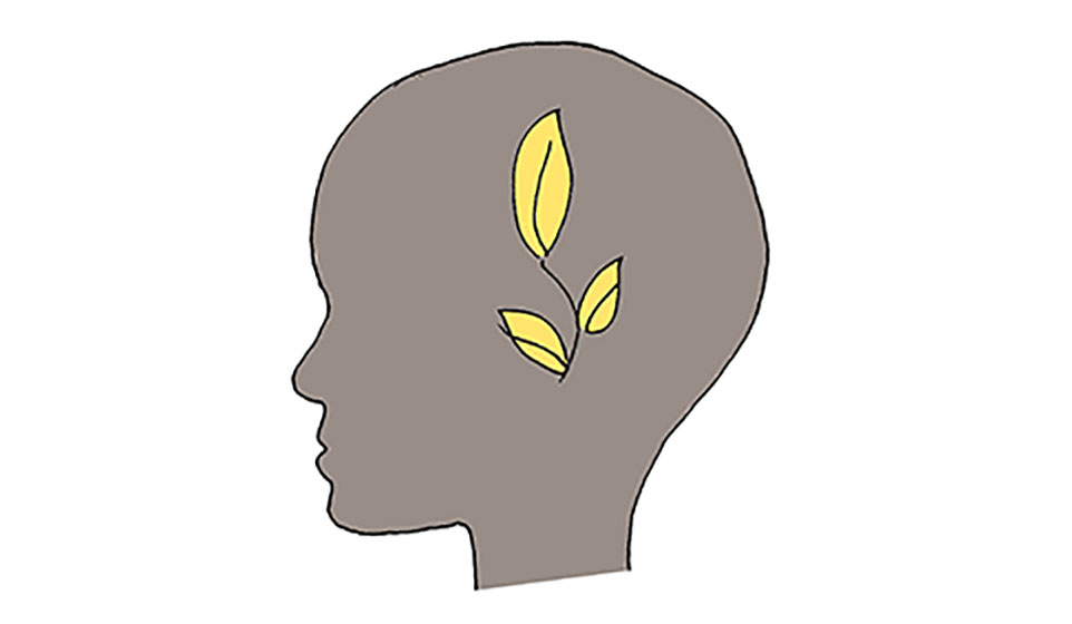 the image shows a drawn head silhouette, from profile, in gray, with 3 yellow leaves in the centre
