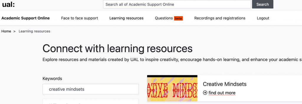 the image shows a screenshot of the Academic Support Online website; the text reads: connect with learning resources